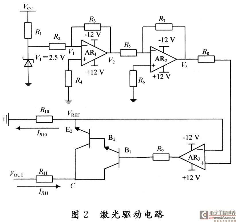 2激光二极管的驱动电路      设计选用激光二极管型号为日本索尼公司