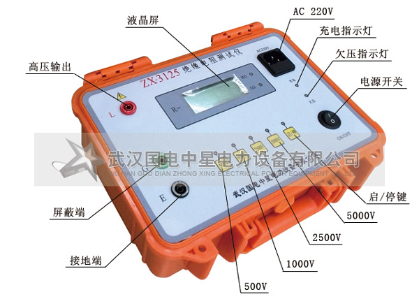 绝缘电阻测量自动转换量程,读数方便. 4.测量环境温度. 5.